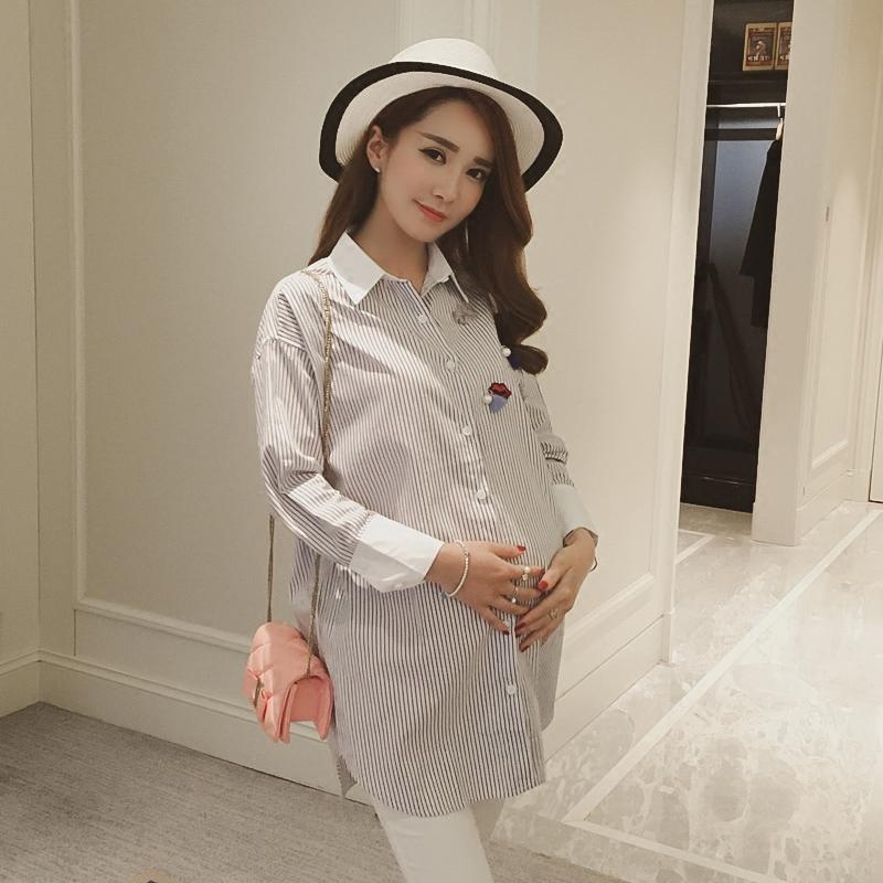 孕婦襯衣長袖春秋上衣中長款 寬鬆打底衫翻領條紋孕婦襯衫