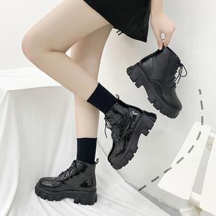 黑色马丁靴女2020年秋冬新款厚底增高百搭单靴英伦风短靴子春秋季