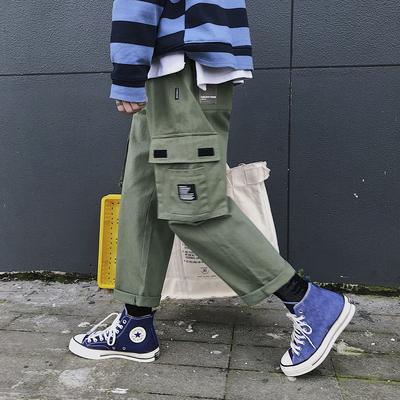 K87*P58 夏季新品男女日系九分纯色工装裤宽松直筒版型休闲裤