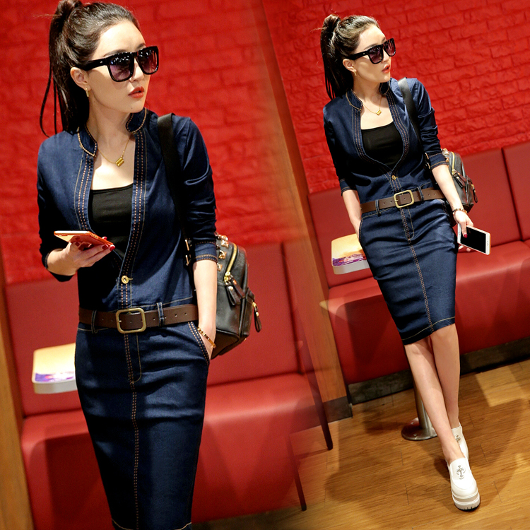 2020 autumn new Korean version slim fit and thin temperament spring and autumn buttock denim dress split middle and long skirt womens fashion