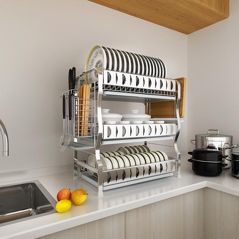 达派屋 304不锈钢碗架沥水架厨房置物架三层晾放滤碗筷收纳盒用品