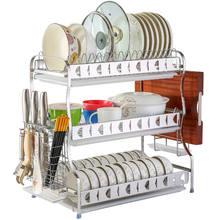 Dapaiwu 304 stainless steel bowl rack, drainage rack, kitchen shelf, three-storey airing, dishwash chopsticks and collecting boxes