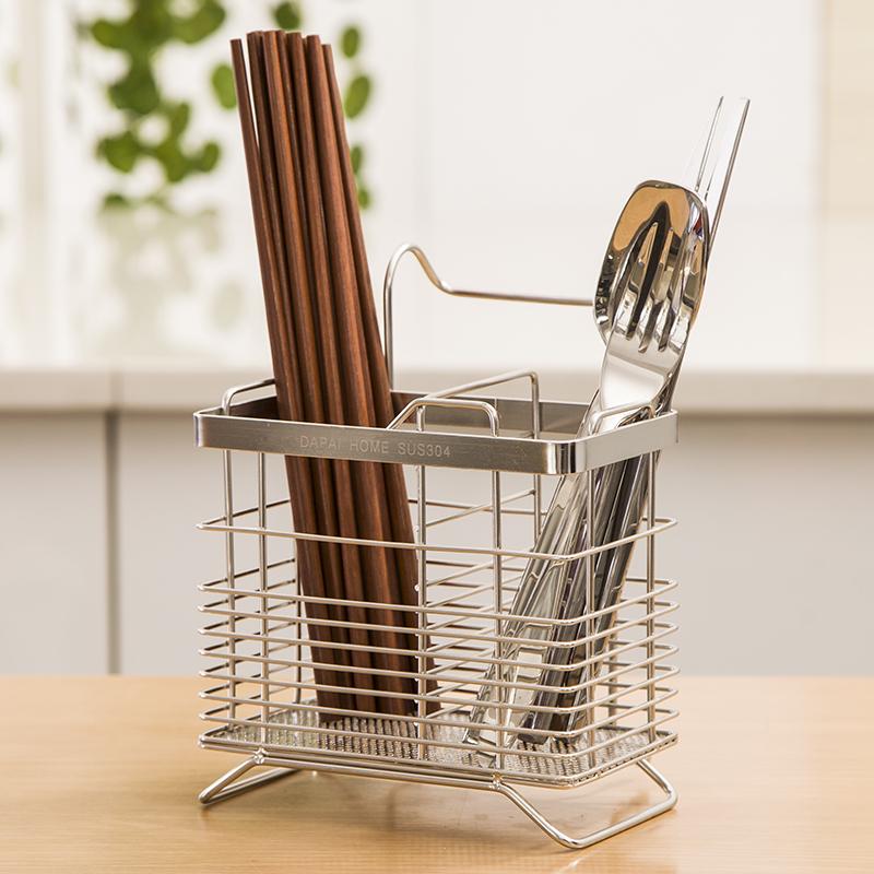達派屋304不鏽鋼筷子筒筷架掛式餐具瀝水架筷籠簍接水盤廚房用品
