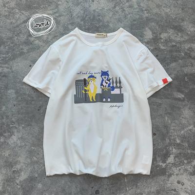 2019夏季新款港风大码个性男嘻哈原创短袖T恤摆拍休闲T121-P30