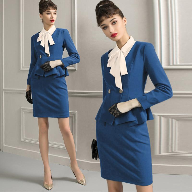 AD秋季新款时尚正装气质蓝色西装两件套OL女装荷叶边职业装套装