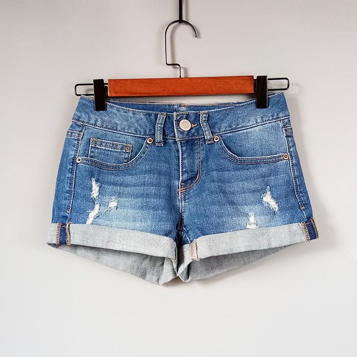 外贸原单夏新款女装卷边水洗破洞牛仔超短裤 时尚热裤 有大码
