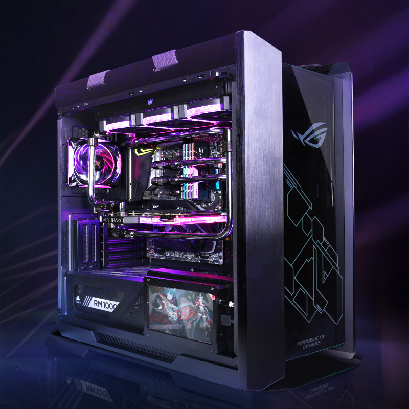 Virtual space i9 10900k / rtx3090 host ASUS Helios customized split water cooling suit
