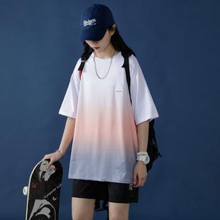 2020夏季新款ins超火網紅T恤韓版寬鬆漸變色潮款學生半袖短袖女