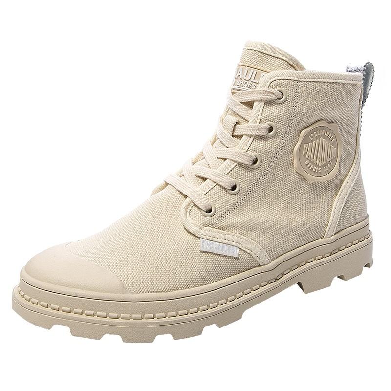 可卡依女鞋子2020夏季透气高帮帆布短靴子女英伦风厚底学生马丁靴