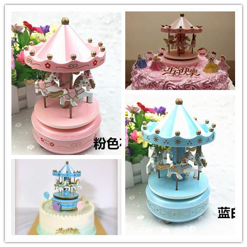蛋糕裝飾旋轉木馬音樂盒 兒童生日蛋糕裝飾擺件配件 旋轉木馬包郵