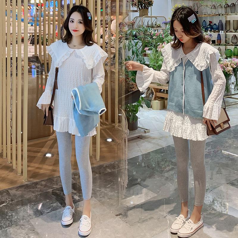 Angel妈咪~孕妇时尚套装秋装纯色娃娃领打底衫+针织马甲两件套潮10月16日最新优惠