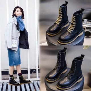 靴子女2020新款秋冬季英伦风中筒马丁靴女短厚底复古休闲女鞋