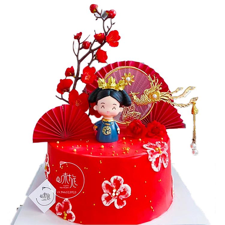 烘焙生日母亲节装饰古风皇上皇后娘娘蛋糕摆件母后凤凰女神插件