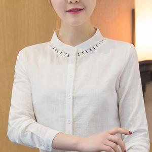 女装春夏装2019新款潮时尚白衬衫女长袖韩版百搭打底衫短款上衣服