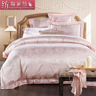 欧式贡缎四件套婚庆床品提花被单六件套纯棉床单被套天丝棉宫廷风