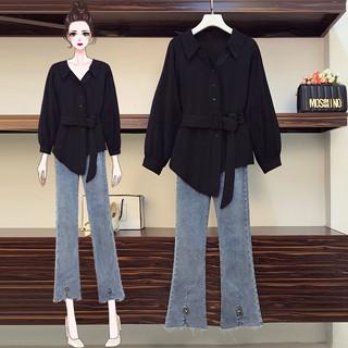 大码女装2020年秋装新款胖妹妹洋气套装显瘦衬衫牛仔裤减龄两件套
