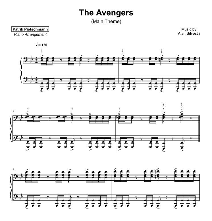 复仇者联盟 可试听The Avengers 主题曲Patrik Pietschmann钢琴谱