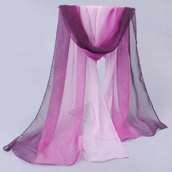 Жоржет шифон шарф Шарфы расписанные шарфы женщин падение Джокер градиенты Корейский весна осень платок двойного