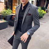 秋冬西装套装男韩版青年潮流潮男婚礼伴郎礼服修身西服西装两件套