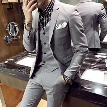 秋冬西服男英伦风韩版修身发型师西服套装男西装三件套帅气外套潮