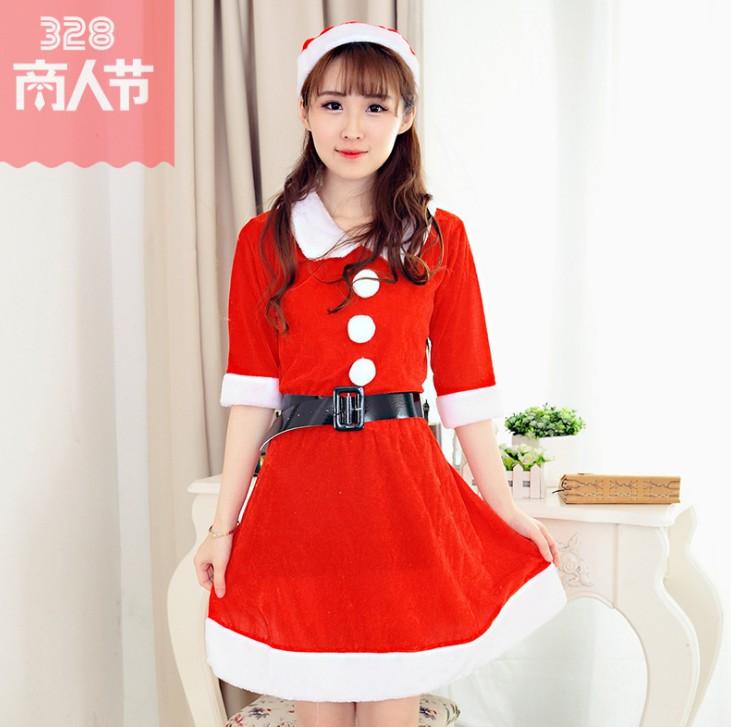 圣诞节娃娃领新款圣诞装长裙COS角色扮演加长裙圣诞老人服装$X3