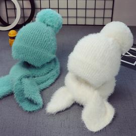 秋冬宝宝儿童帽子1女童毛线帽围巾套装2男童帽5个月-3岁-8岁两件