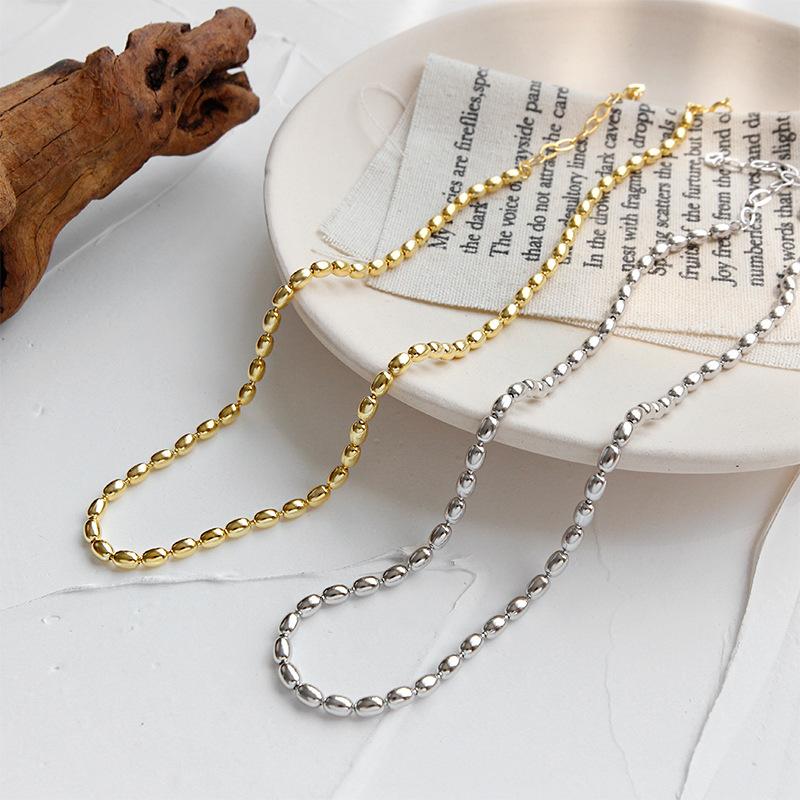 韩版S925纯银项链INS气质小众椭圆珠串珠女颈链个性锁骨脖链银饰