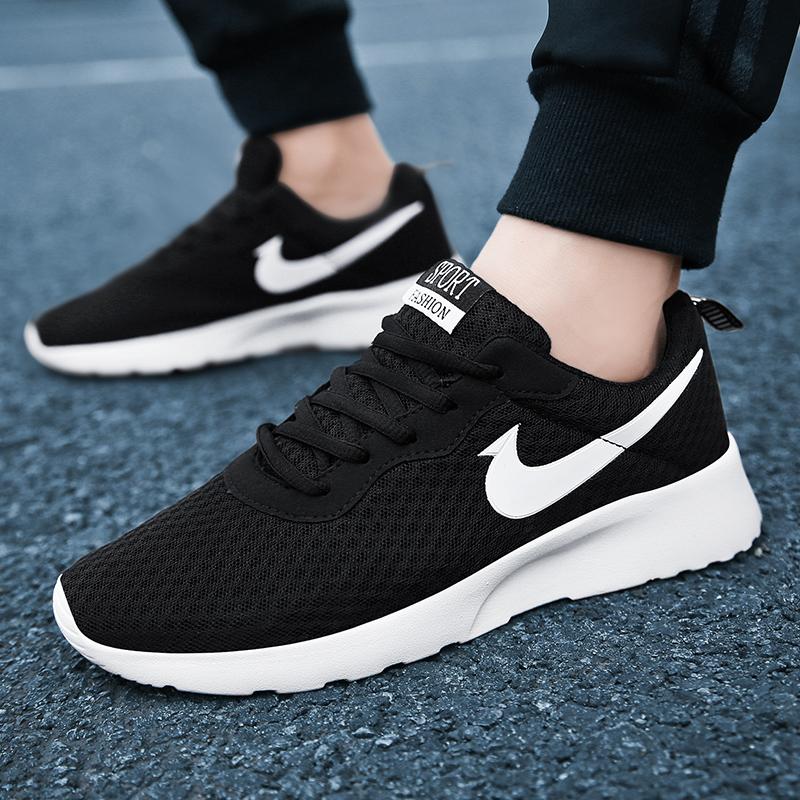 运动鞋男秋季透气男鞋黑色男士休闲鞋伦敦情侣跑步鞋学生板鞋子女
