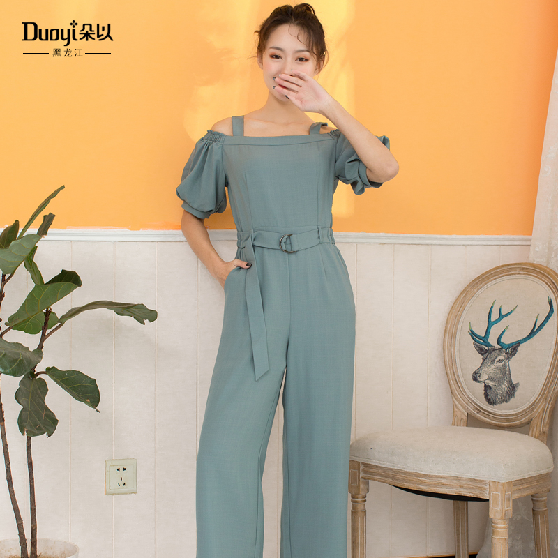 Duoyi duos new summer style counter, the same style, slim suspender, off shoulder chiffon pants, one-piece pants, womens 8x