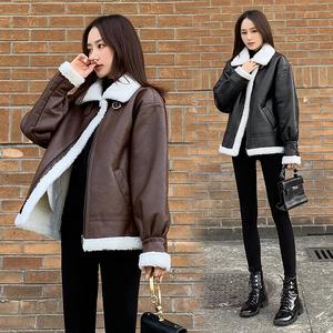 實拍現貨 2019冬季新款韓版羊羔毛外套皮毛一體洗水皮短棉服皮衣
