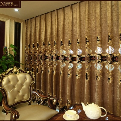 European-style high-grade chenille embroidery curtains screens living room bedroom shade cloth floor window curtains finished special