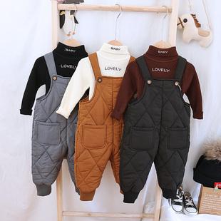寶寶羽絨棉揹帶褲嬰幼兒連體褲男童女童冬季新款保暖褲小童長褲潮