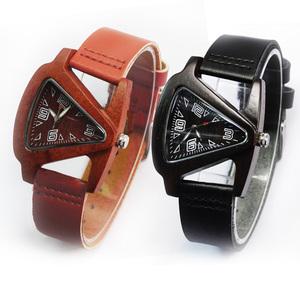 流行时尚三角木表红檀黑檀男款女款外贸品牌木质手表