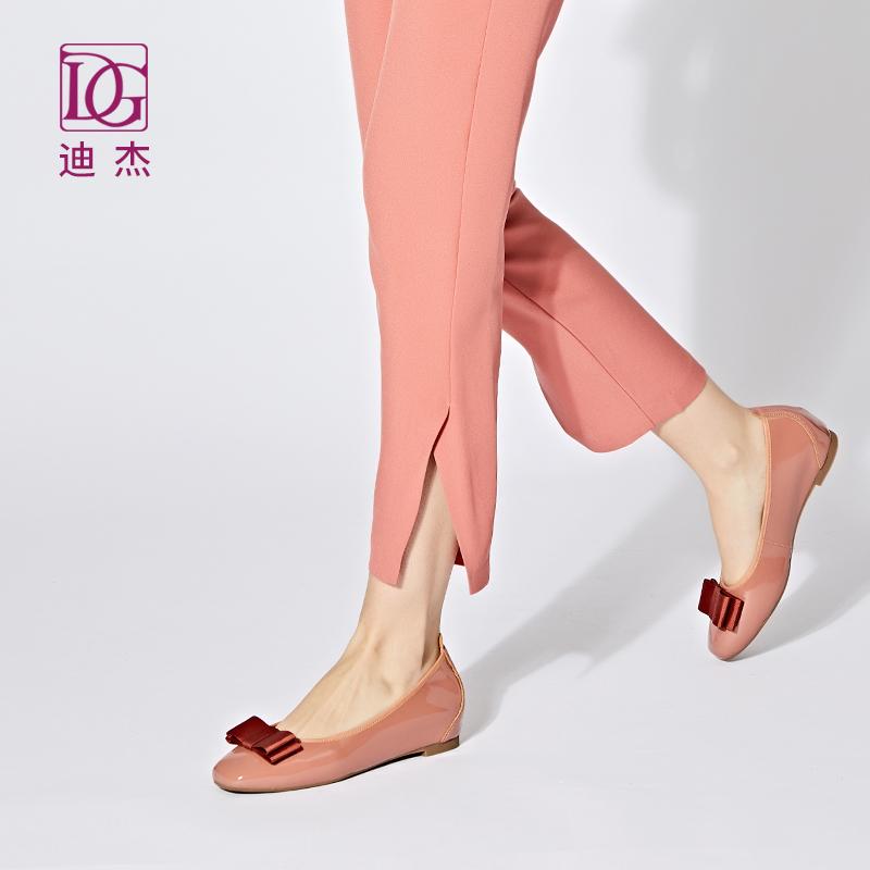 单鞋女平底DG2019春季新款真皮蝴蝶结百搭孕妇鞋浅口内增高女鞋子