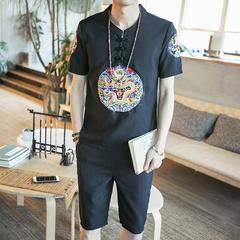 2018夏装新款大码中国风龙袍刺绣麻料短袖盘扣套装 A055-F021-P75