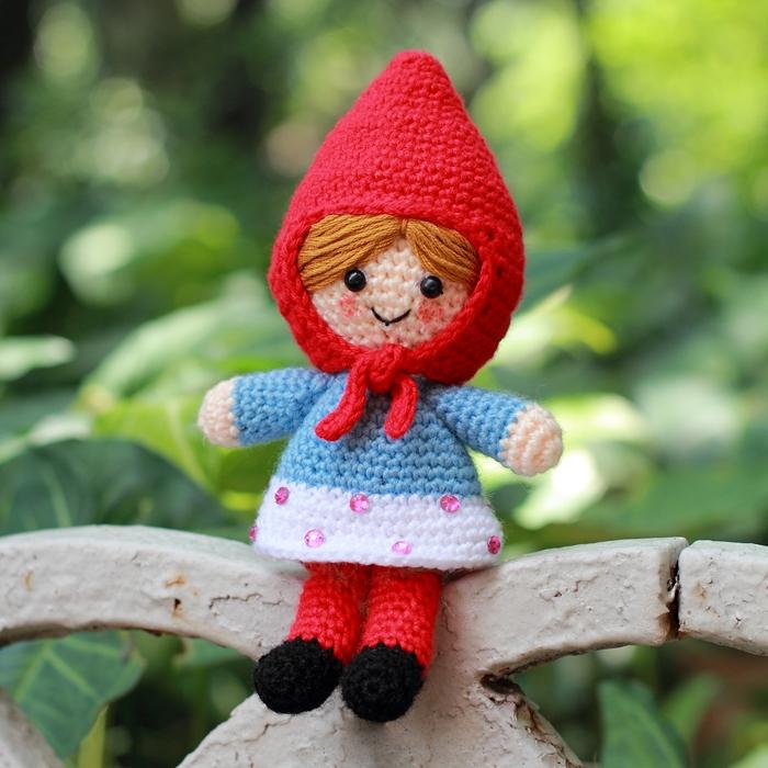 День рождения подарок кукла исключительно вручную вязание крючком ткать красная шапочка кукла куклы игрушка день рождения подарок свадьба кукла