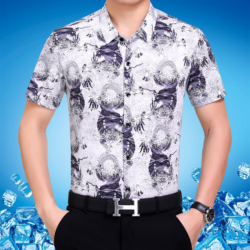 Summer new middle-aged mens short sleeve no iron business casual shirt dragon pattern Chinese style white half sleeve shirt