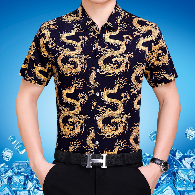 Summer middle-aged mens mulberry short sleeve printed shirt dragon pattern fathers loose large half sleeve shirt