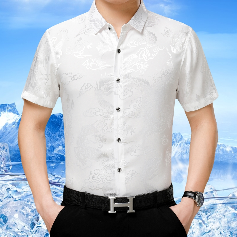 Dragon pattern middle aged mens Short Sleeve Shirt summer business casual shirt mens printed thin half sleeve inch shirt Chinese style