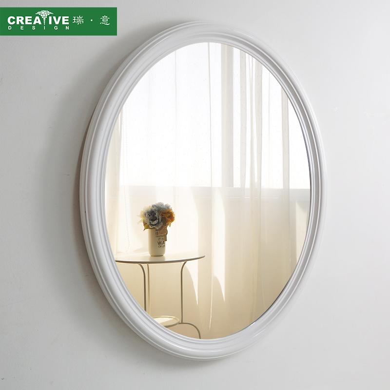 瑞意漢斯純白簡約 橢圓防霧浴室鏡衛生間衛浴壁掛梳妝鏡子