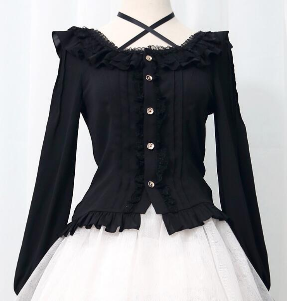 Alice's Christmas shirt Lolita Lolita with women's chiffon long sleeve fitted top