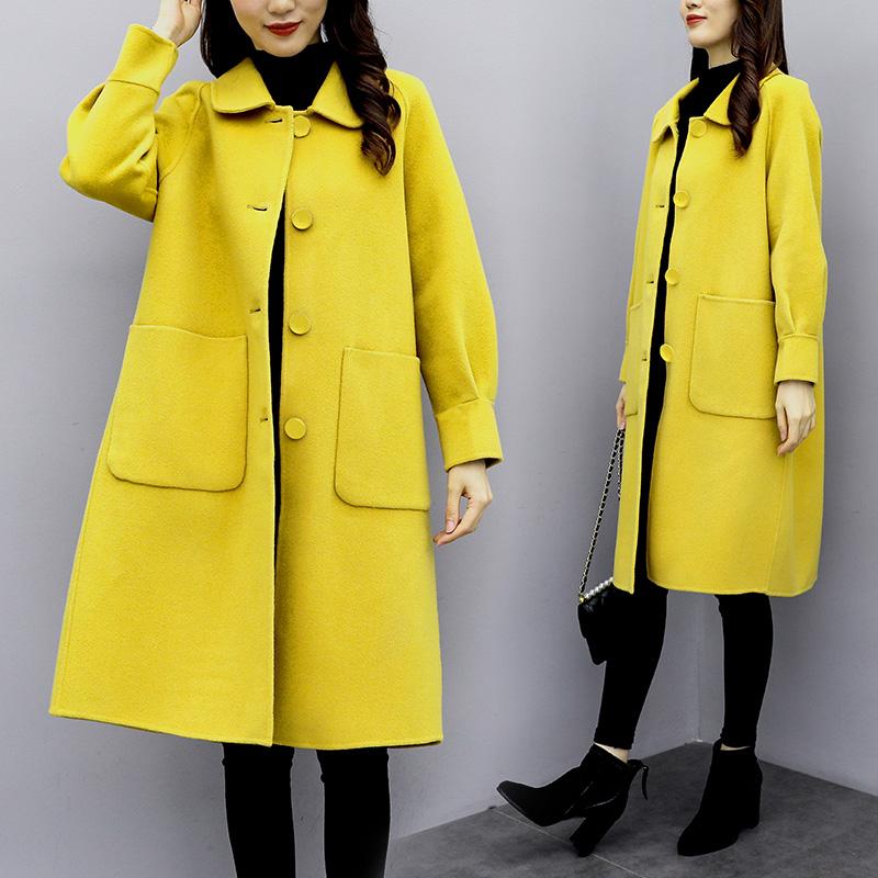 24大衣女中长款2019韩版秋冬新款灯笼袖毛呢外套女过膝呢子大衣