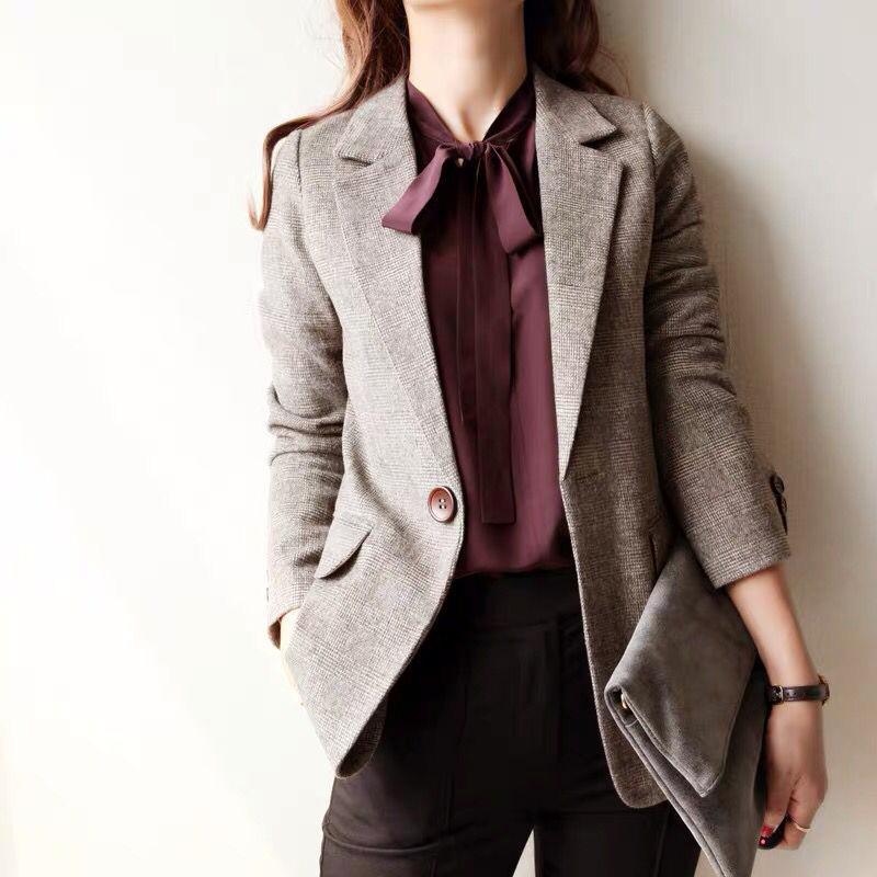 2020春韩版新款chic复古英伦格子中长款羊毛呢修身小西装外套女潮图片