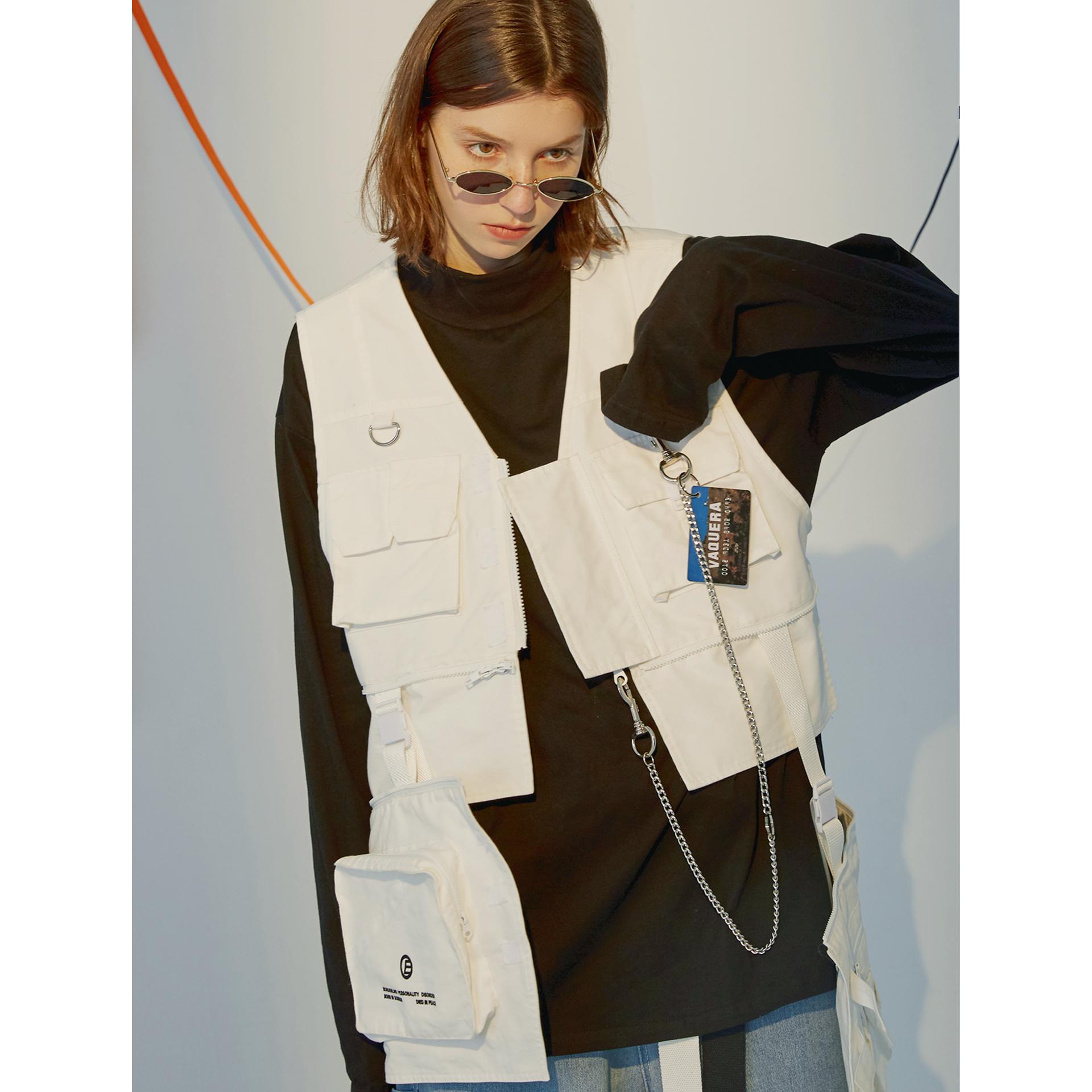 Edgender 2019 national fashion hip-hop print three-dimensional pocket detachable tactical suit vest sleeveless jacket