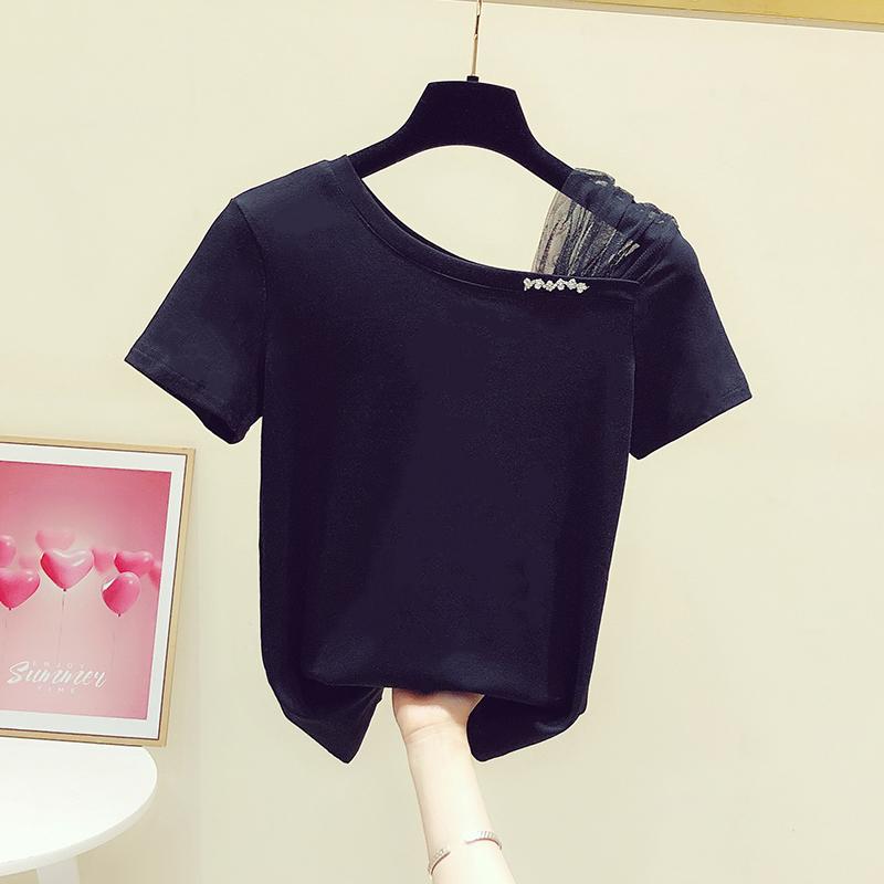 2021夏装新款设计感镶钻斜露肩一字领网纱拼接短袖T恤女休闲上衣