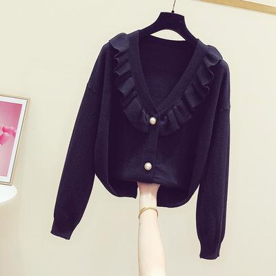 2020春装新款韩版气质黑色荷叶边针织开衫女休闲珍珠纽扣毛衣外套