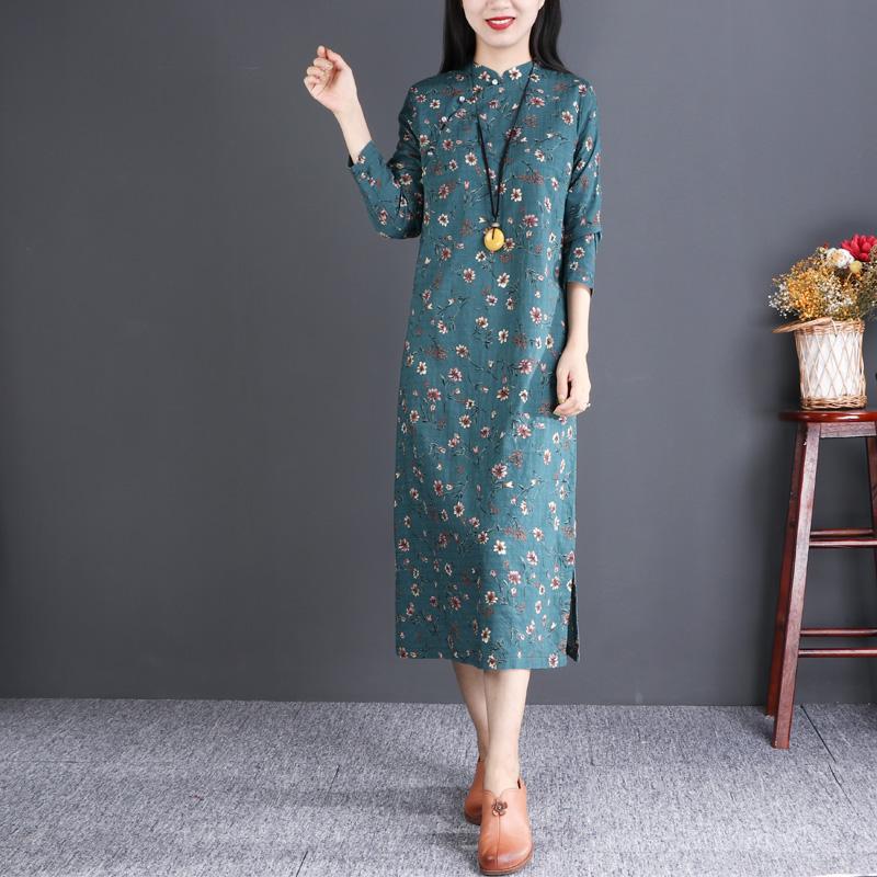 自然小铺 原创设计碎花棉麻连衣裙宽松中长款文艺立领小清新旗袍