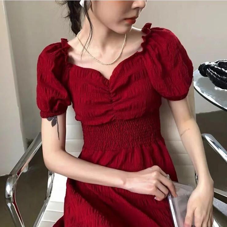 2020夏季新款复古桔梗法式红色方领收腰显瘦连衣裙气质长裙子女装
