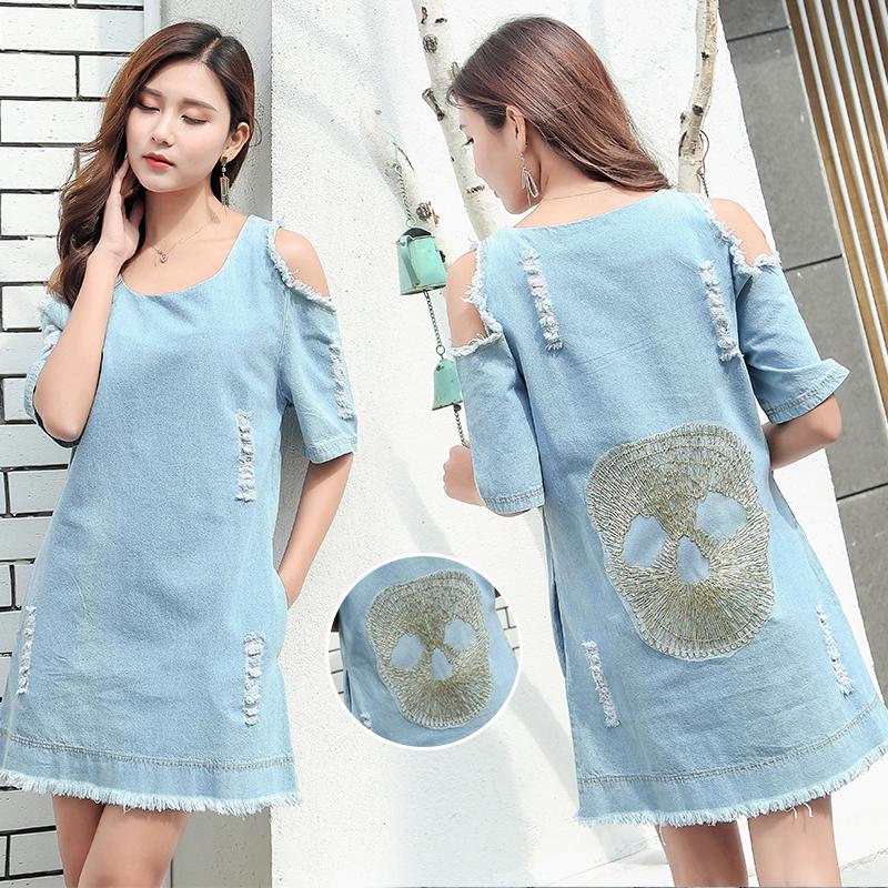 Ssy South Korean new off shoulder dress with holes skull denim skirt loose large one-piece dress 9767