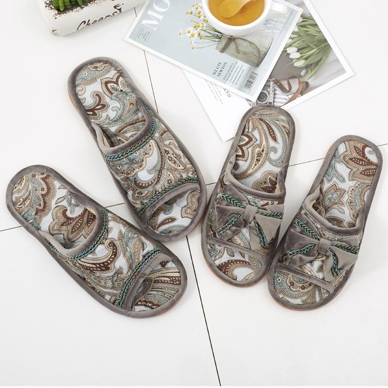 秋冬家居欧式布艺室内拖鞋女家用情侣男木地板舒适防滑牛筋底软底